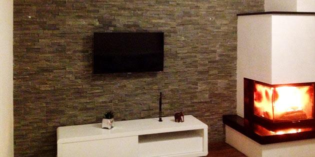 Design : Schiefer Wandverkleidung Wohnzimmer ~ Inspirierende ... Verblendsteine Wohnzimmer Grau