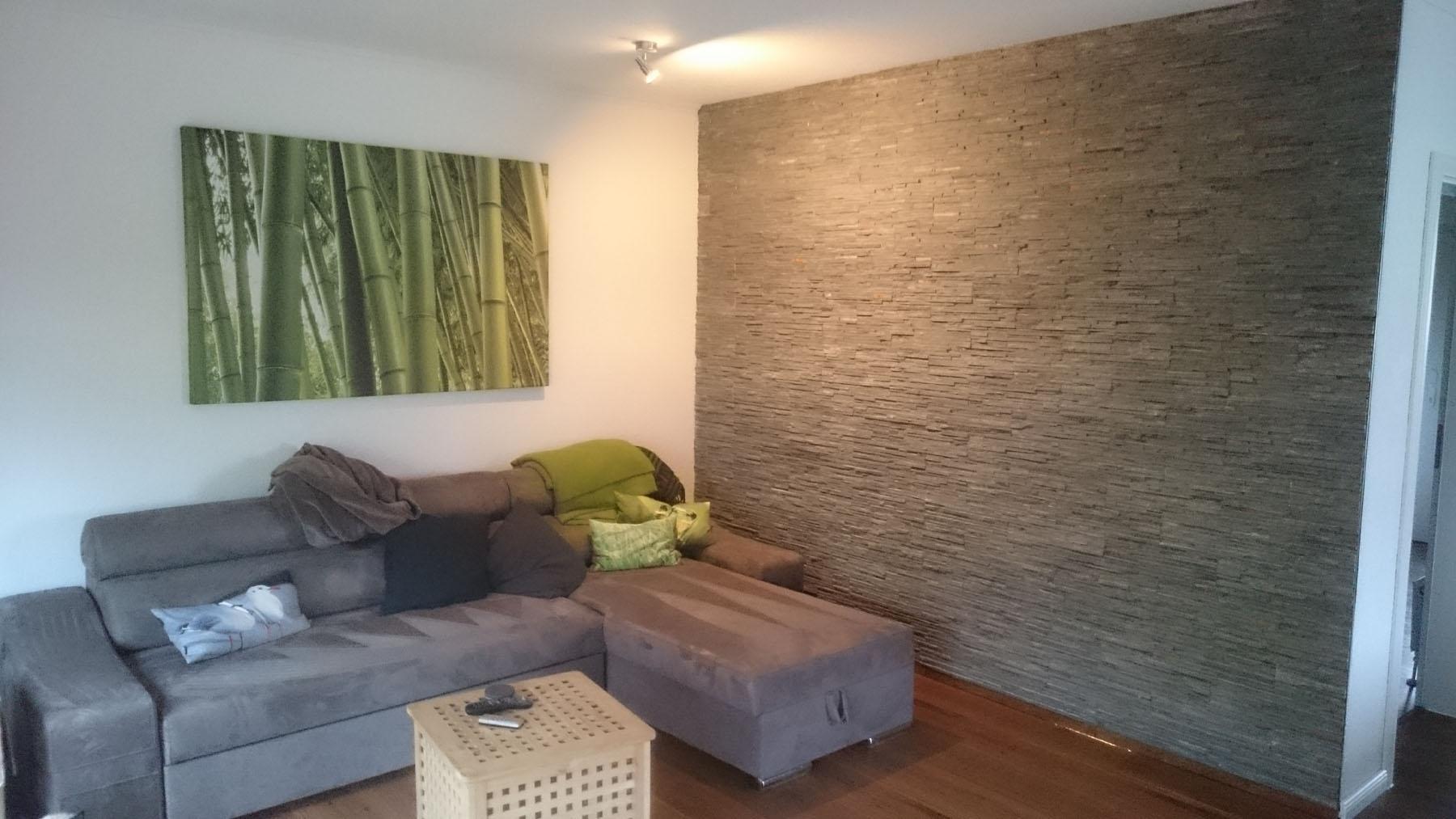 Wandgestaltung ? Backes Verblendsteine Wohnzimmer Grau